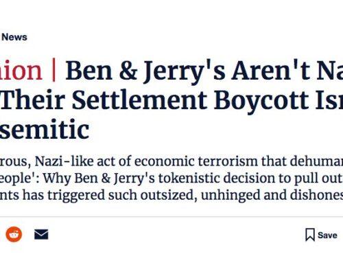 Haaretz OpEd on Ben and Jerry's